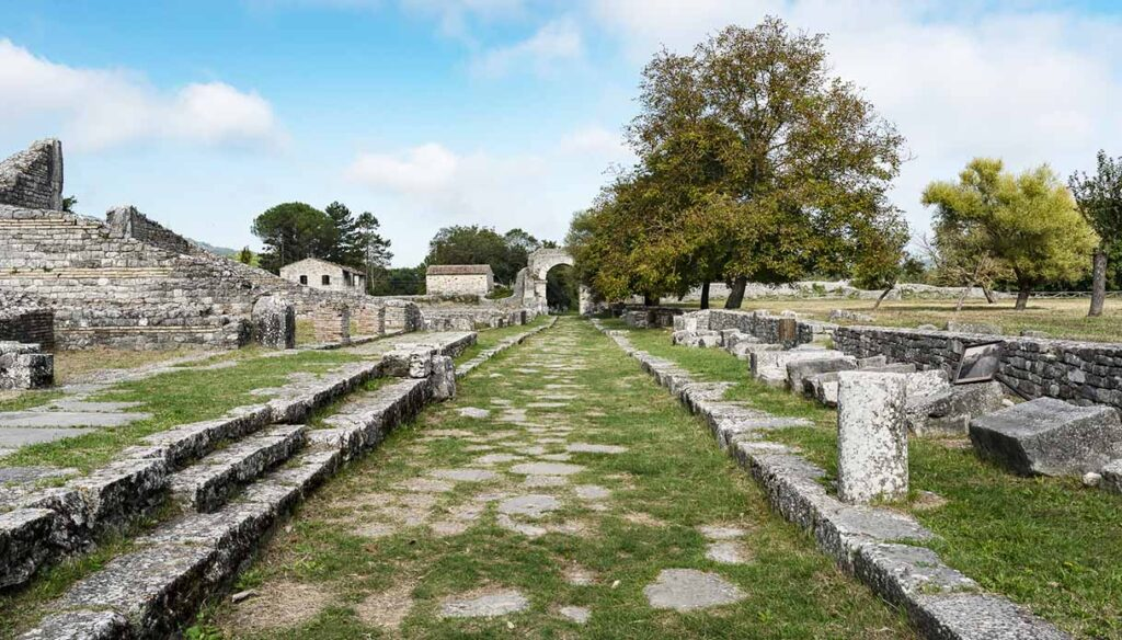 Sepino, ruins of the ancient Samnite city, Roman architecture. View of the ruins.
